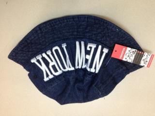 *Mũ bucket jeans Hàn Quốc NEW YORK xanh sẫm 016