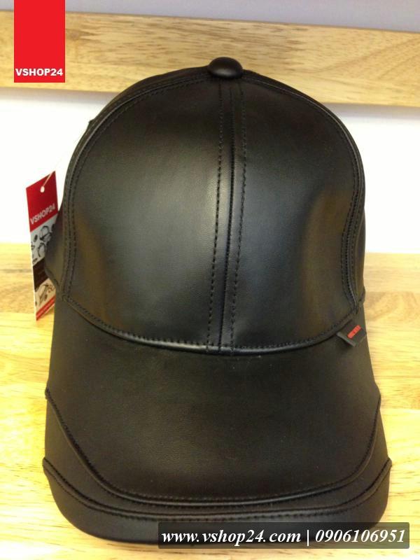 Mũ da cao cấp Quicksilver đen 033