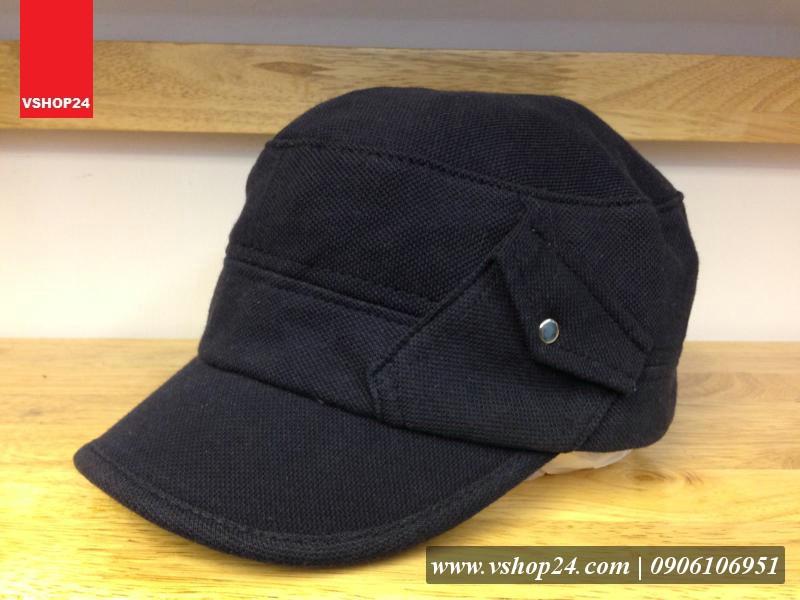 Mũ Hàn Quốc đầu vuông cotton xanh navy 222