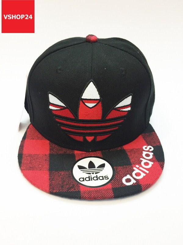 *Mũ snapback Addidas kẻ caro đỏ đen 214