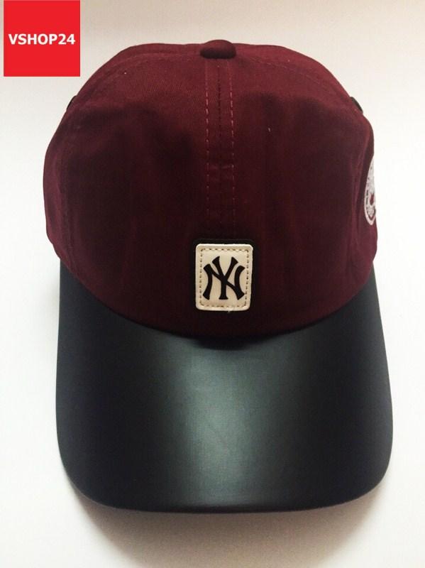 Mũ lưỡi trai khaki NY vành da đỏ đun 322