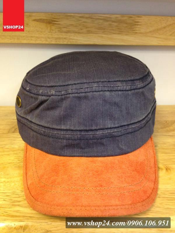 *Mũ khaki đầu vuông 2 màu xanh navy & cam 020