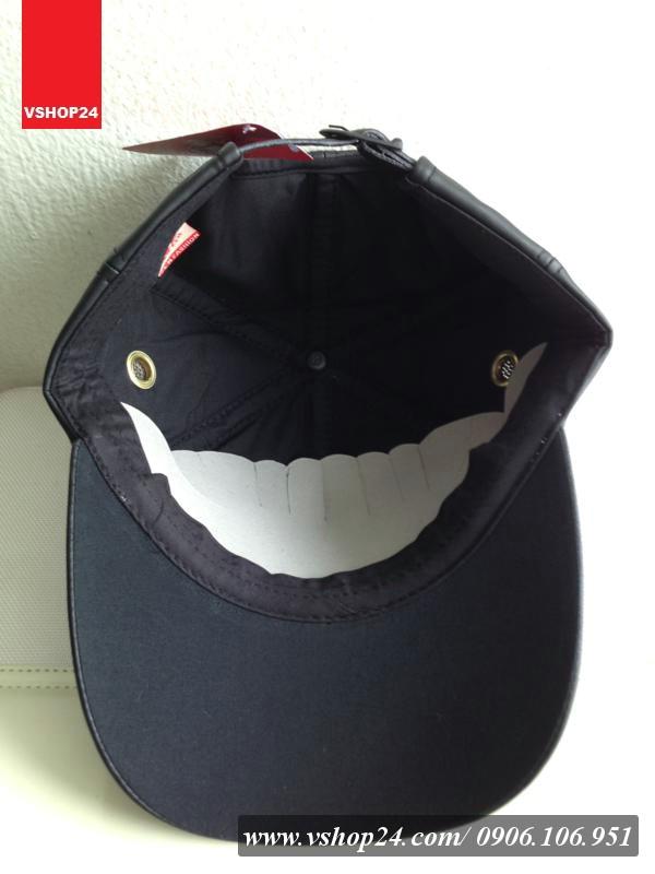 *Mũ lưỡi trai da cao cấp Vespa đen 028