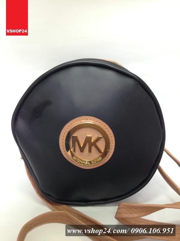 Giỏ xách mini nhựa tròn Micheal Kor đen 043