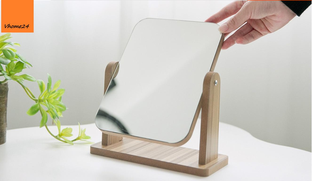 *Gương trang điểm đế gỗ xoay 360 size nhỏ 134