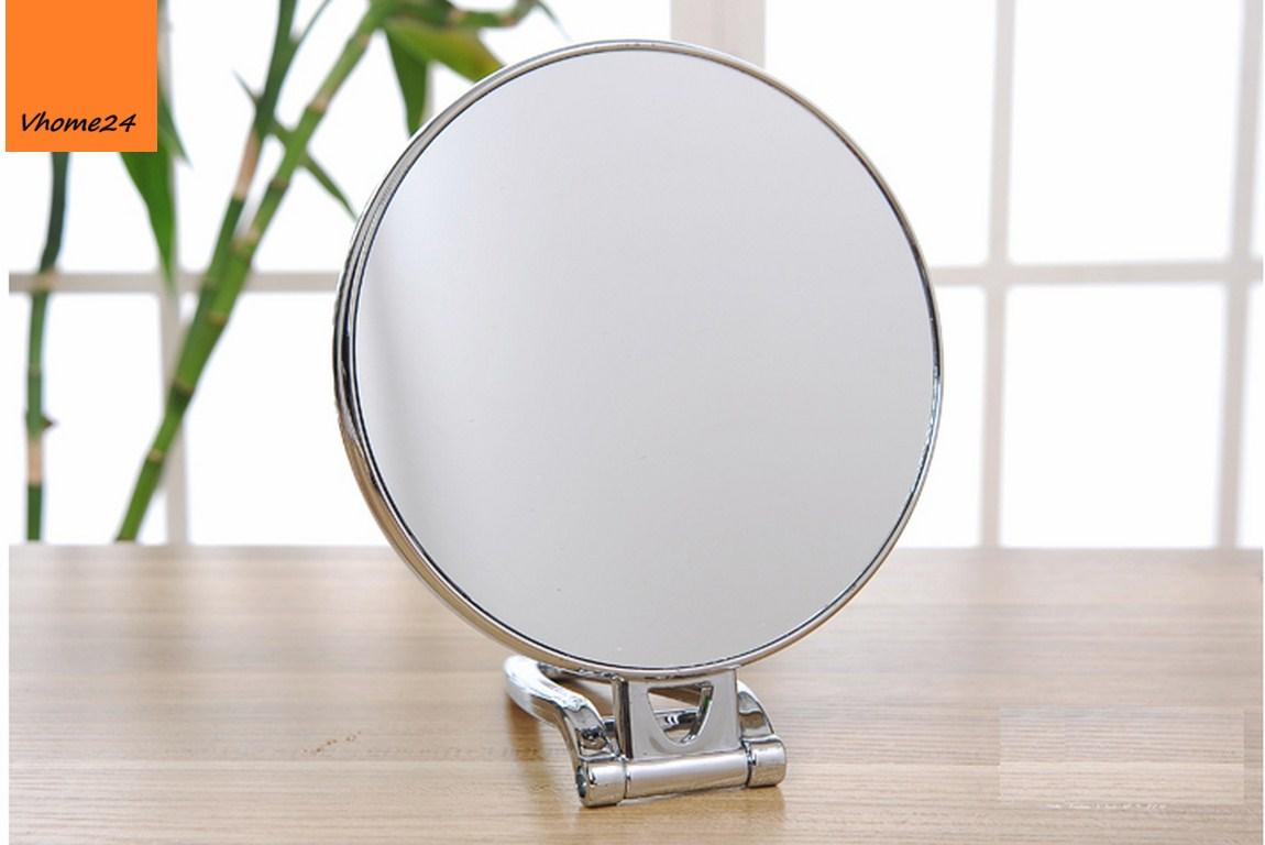*Gương trang điểm nhựa bạc chân gập đa năng 136
