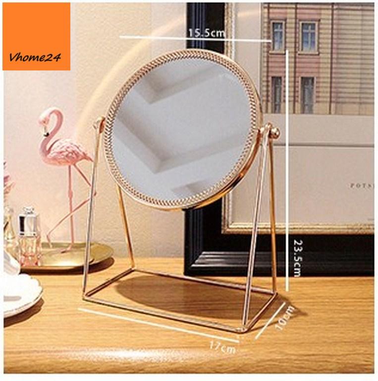 *Gương trang điểm inox vàng hồng dáng tròn kiểu xích đu GTD148