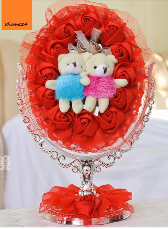 *Gương trang điểm wedding gấu đỏ 085