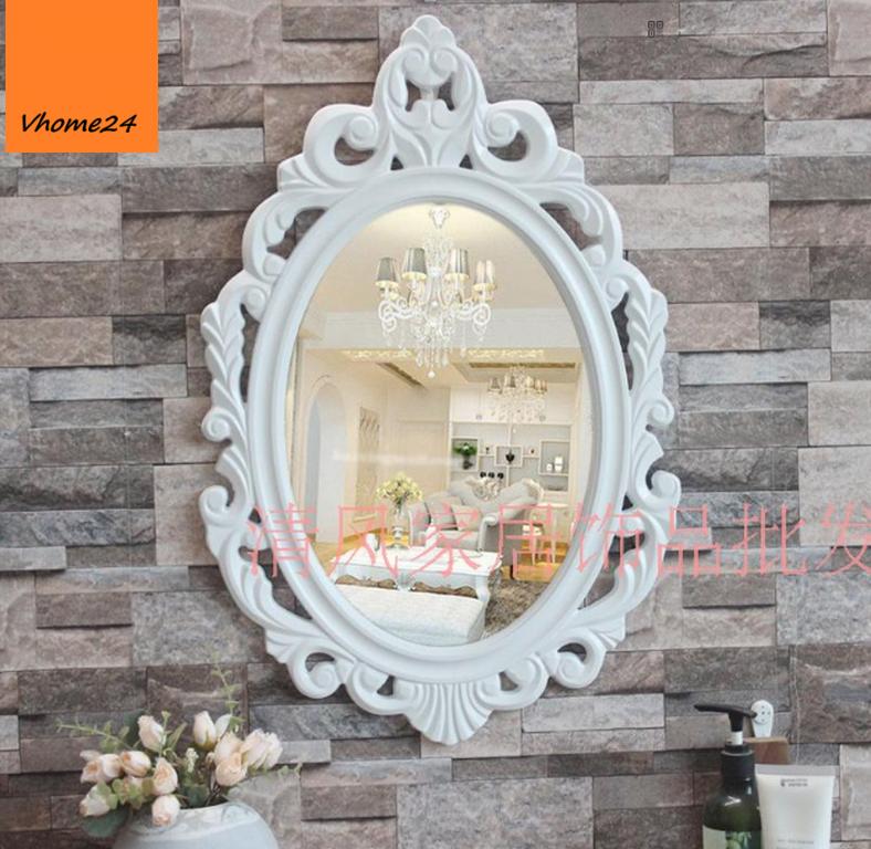 *Gương trang trí decor oval trắng viền vintage hoa 082