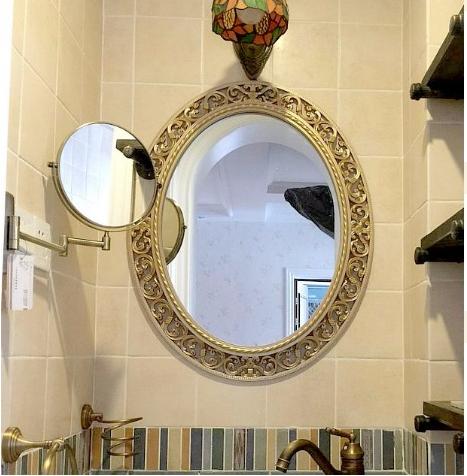 *Gương soi trang trí oval màu vàng sâm banh 065