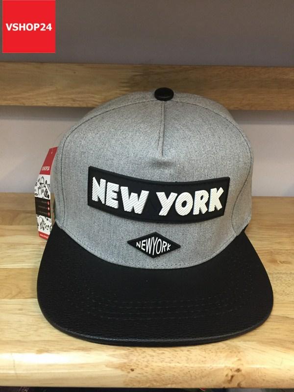 *Mũ snapback cao cấp NEW YORK ghi xám vành đen 340
