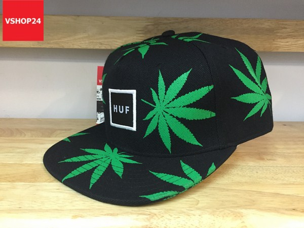 *Mũ snapback HUF họa tiết lá xanh 125