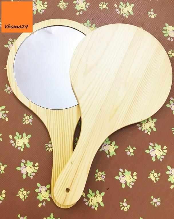 *Gương cầm tay gỗ thông GTD144