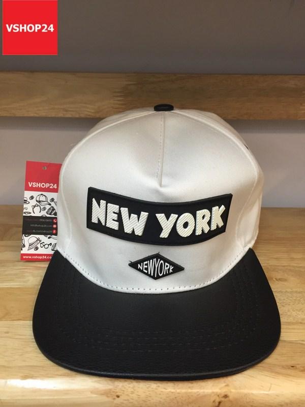 *Mũ snapback cao cấp NEW YORK trắng vành đen 154