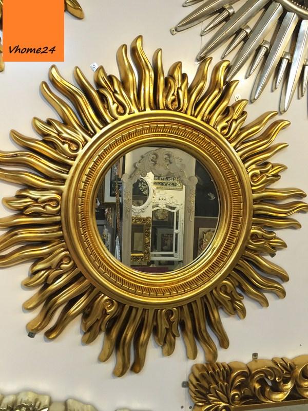 *Gương trang trí decor mỹ thuật họa tiết mặt trời mạ vàng 055