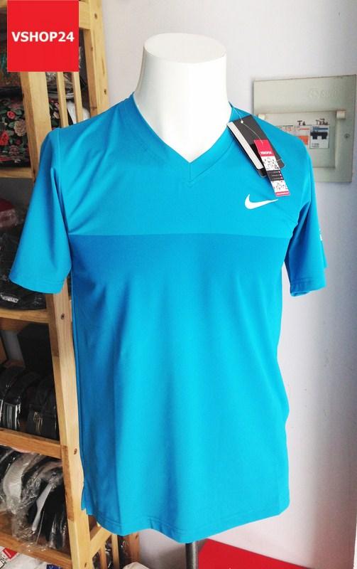 Áo thun nam Nike cổ tim màu xanh 02