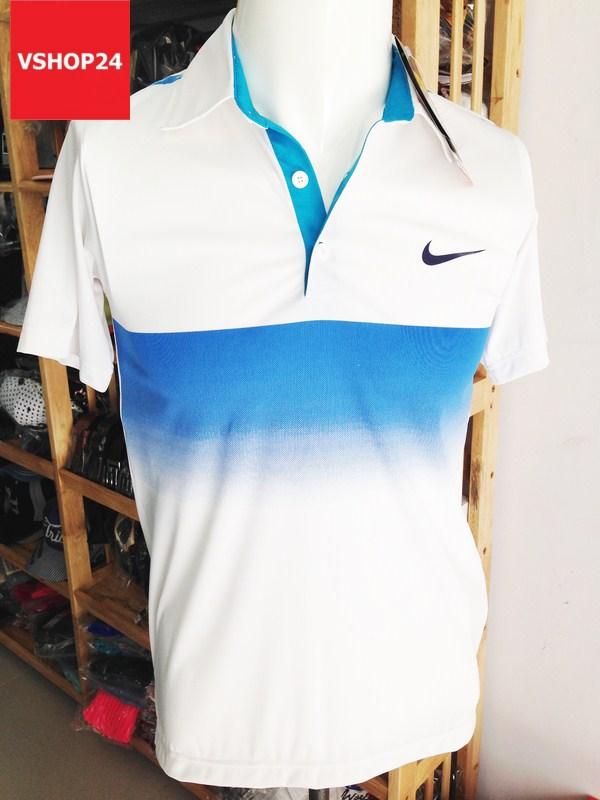 Áo phông nam NIKE trắng cổ bẻ 05