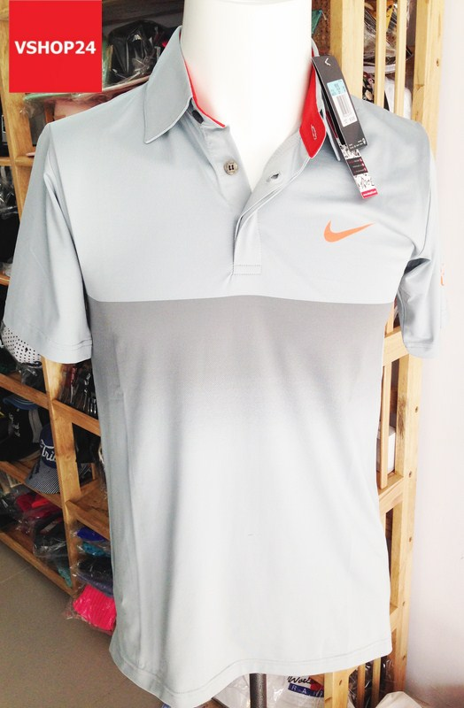 Áo phông nam Nike cổ bẻ màu ghi xám 07