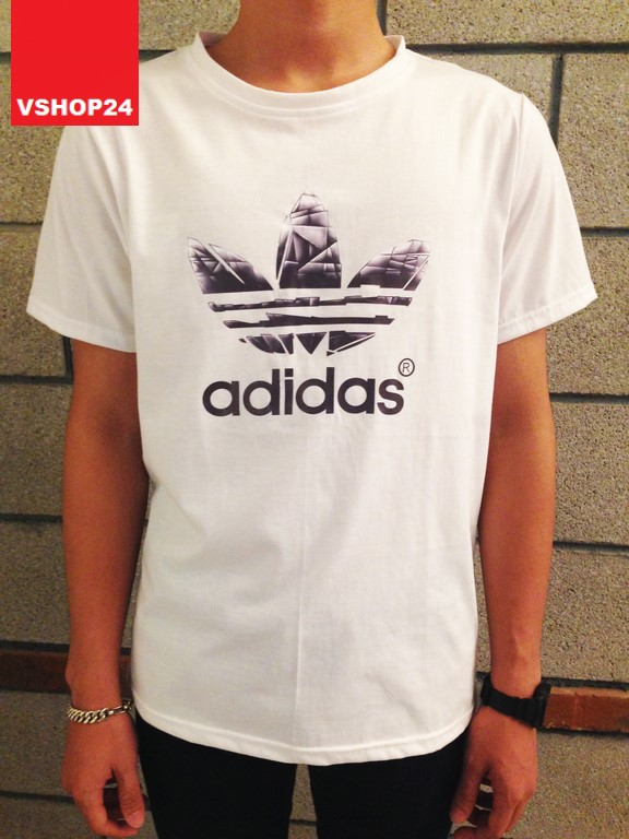 Áo thun nam Addidas Originals trắng logo đen 23