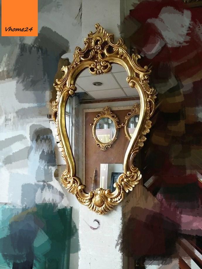 *Gương trang trí decor phong cách hoàng cung mạ vàng 061