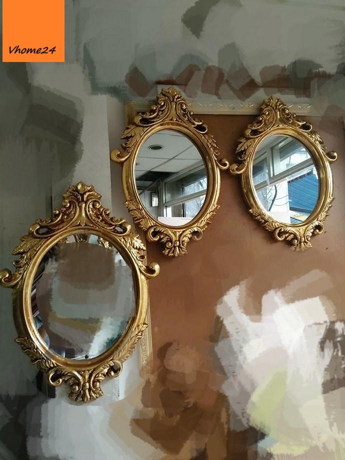 *Guong trang trí decor oval phong cách royal mạ vàng 063