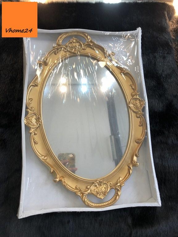 Khay gương đựng đồ trang điểm vàng đồng GTD166