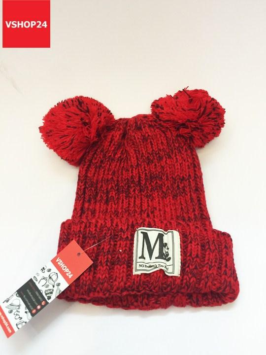 *Mũ len beanie  2 quả bông MICKEY đỏ 133