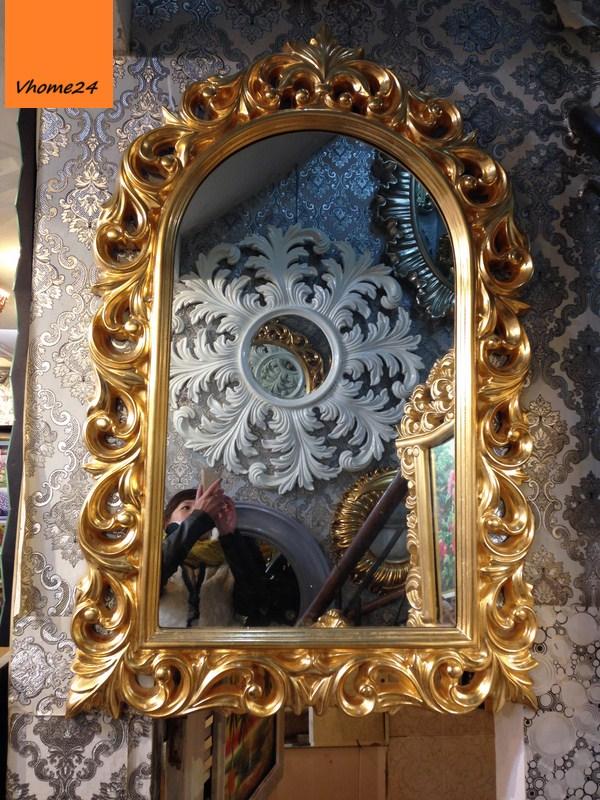 Gương trang trí decor mạ vàng khung vòm 011