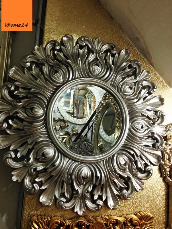 Gương trang trí decor phong cách hoàng gia màu bạc 015