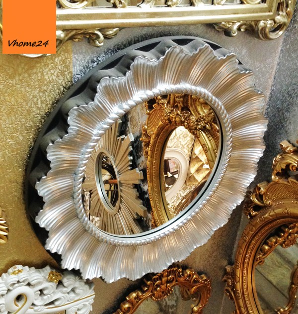 *Gương trang trí decor hình bông hoa màu bạc 043