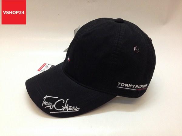 *Mũ lưỡi trai cao cấp Tommy chữ ký đen 033