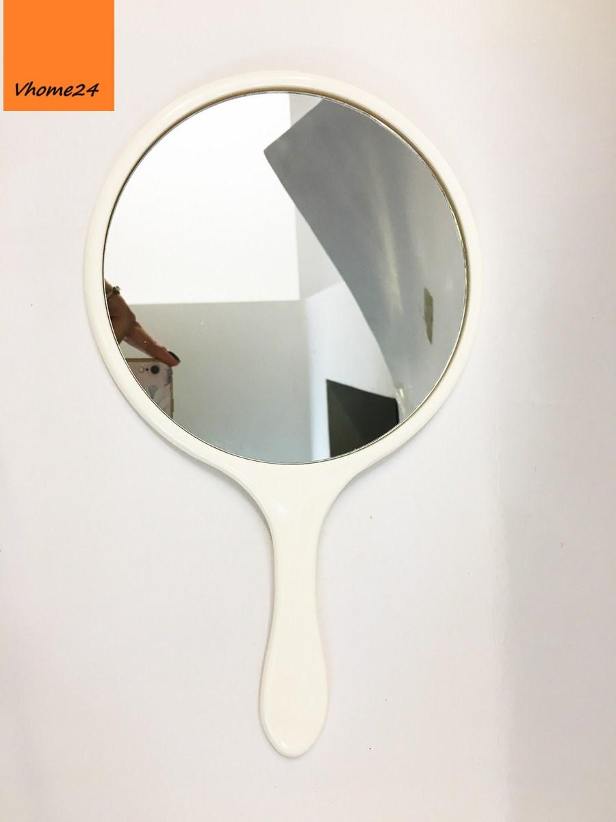 *Gương cầm tay nhựa tròn trắng 133