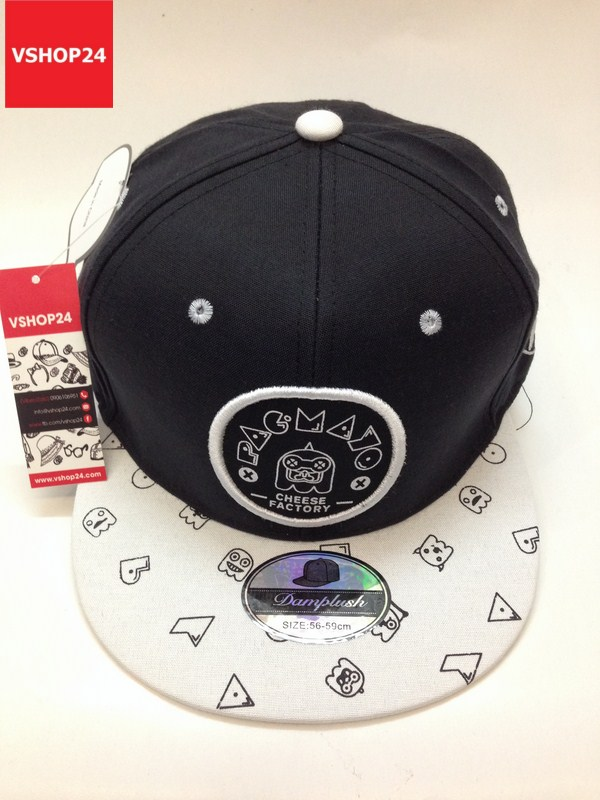 *Mũ snapback logo tròn CHEESE FACTORY đen trắng 112