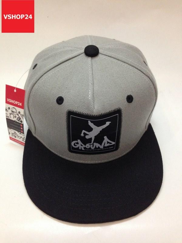 *Mũ snapback logo vuông GROUND ghi xám vành đen 114