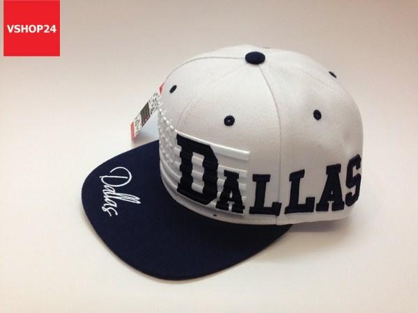 *Mũ snapback VNXK DALLAS trắng vành xanh navy 323