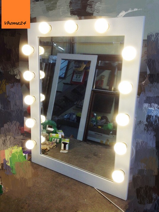 *Gương trang điểm bàn phấn đèn LED khung trắng 169