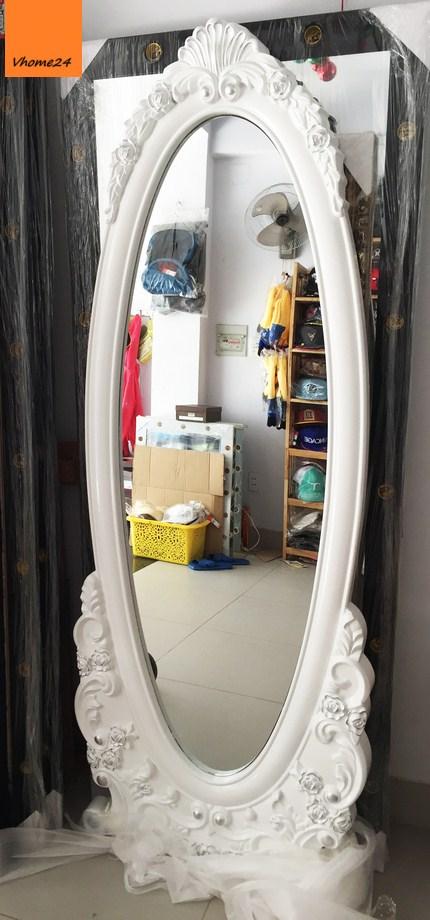 *Gương soi toàn thân oval vintage trắng 175