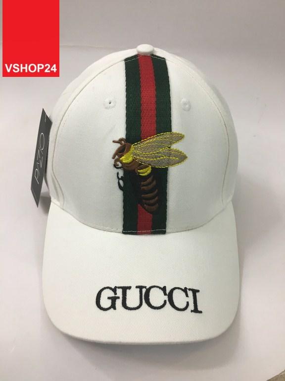 *Mũ Gucci sọc giữa thêu ong 184