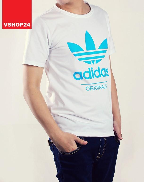 Áo thun thể thao Addidas Originals trắng logo xanh 27