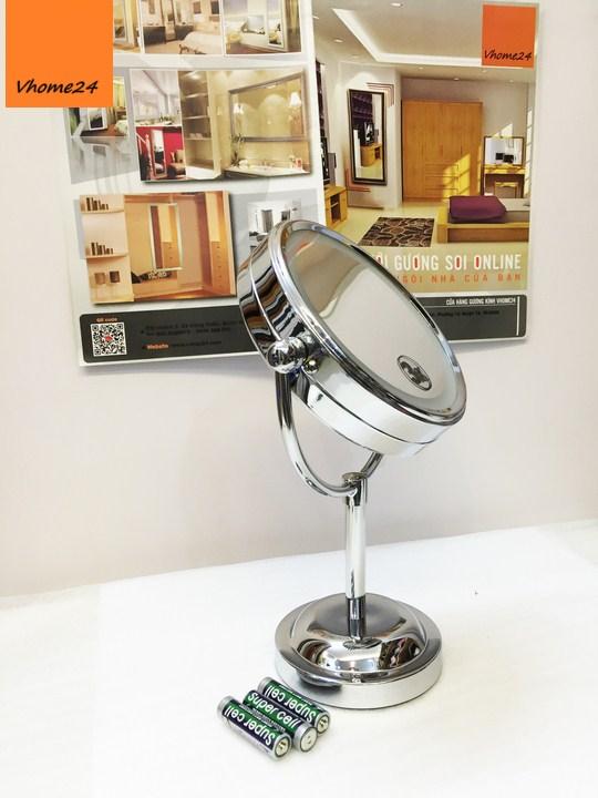 *Gương trang điểm inox đèn led size S 124