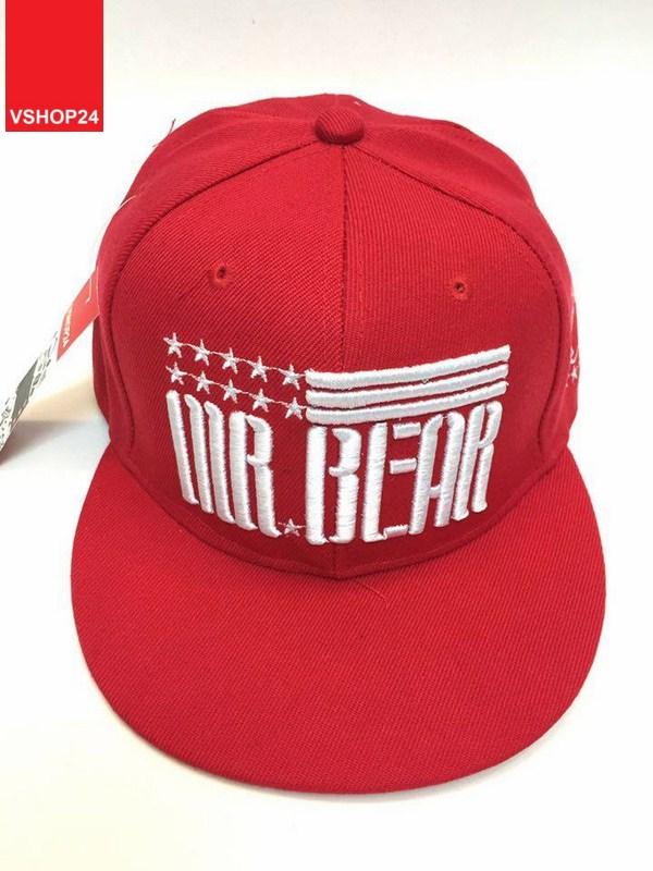 *Mũ snapback KPOP đỏ Mr.Bear 012