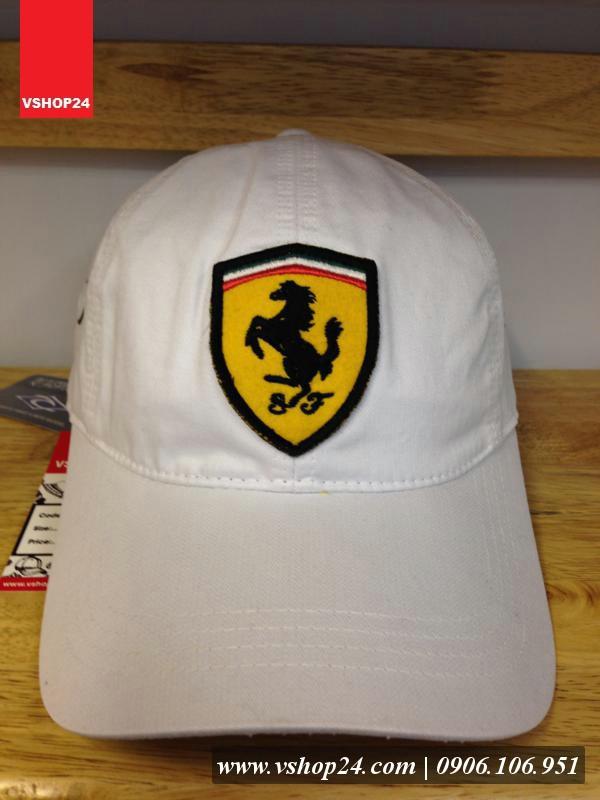 Nón kết Ferrari cao cấp trắng 077