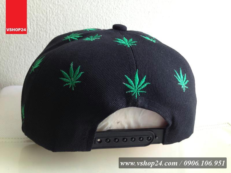 *Mũ snapback Hater đen + lá xanh 197