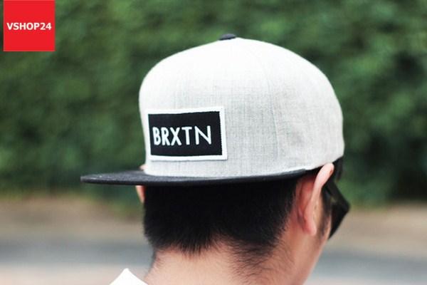 *Mũ snapback cao cấp Brixton ghi & đen 250