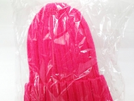 *Mũ Len hồng Beanie sọc 013